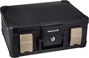 Honeywell Safes & Door Locks - 30 Minute Fire Safe Waterproof Safe Box Chest with Carry Handle, Medium, 1103