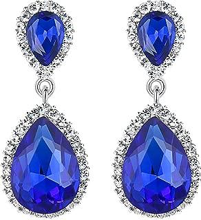 EVER FAITH Women's Austrian Crystal Wedding Tear Drop Dangle Earrings