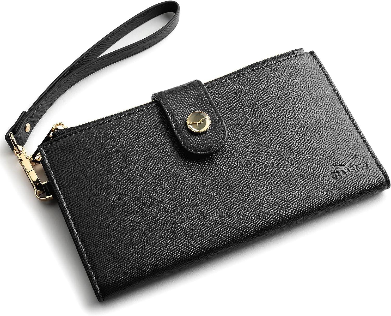 Women's RFID Wristlet Wallet & Phone Holder | Multi Credit Card Bifold Organizer w/ Zipper Pockets & Sweetly Packed in Gift Box