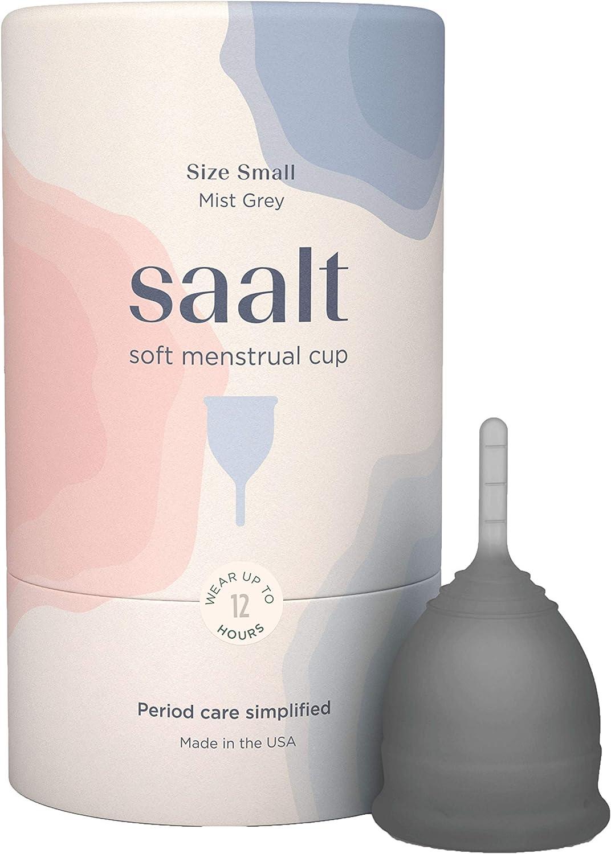 Saalt Copa menstrual suave, súper suave y flexible, mejor copa sensible, uso durante 12 horas, fabricado en Estados Unidos (gris, pequeño)