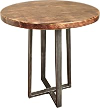 """Barnyard Designs Round End Table - Rustic Solid Pine Wood - Decorative Side Table Accent 21.75"""" x 19.75"""""""