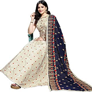 Shaneels Soft Taffeta Silk Fully Stitched Anarkali Embroidered Gown with Dupatta (SA11906, Cream, Free Size)