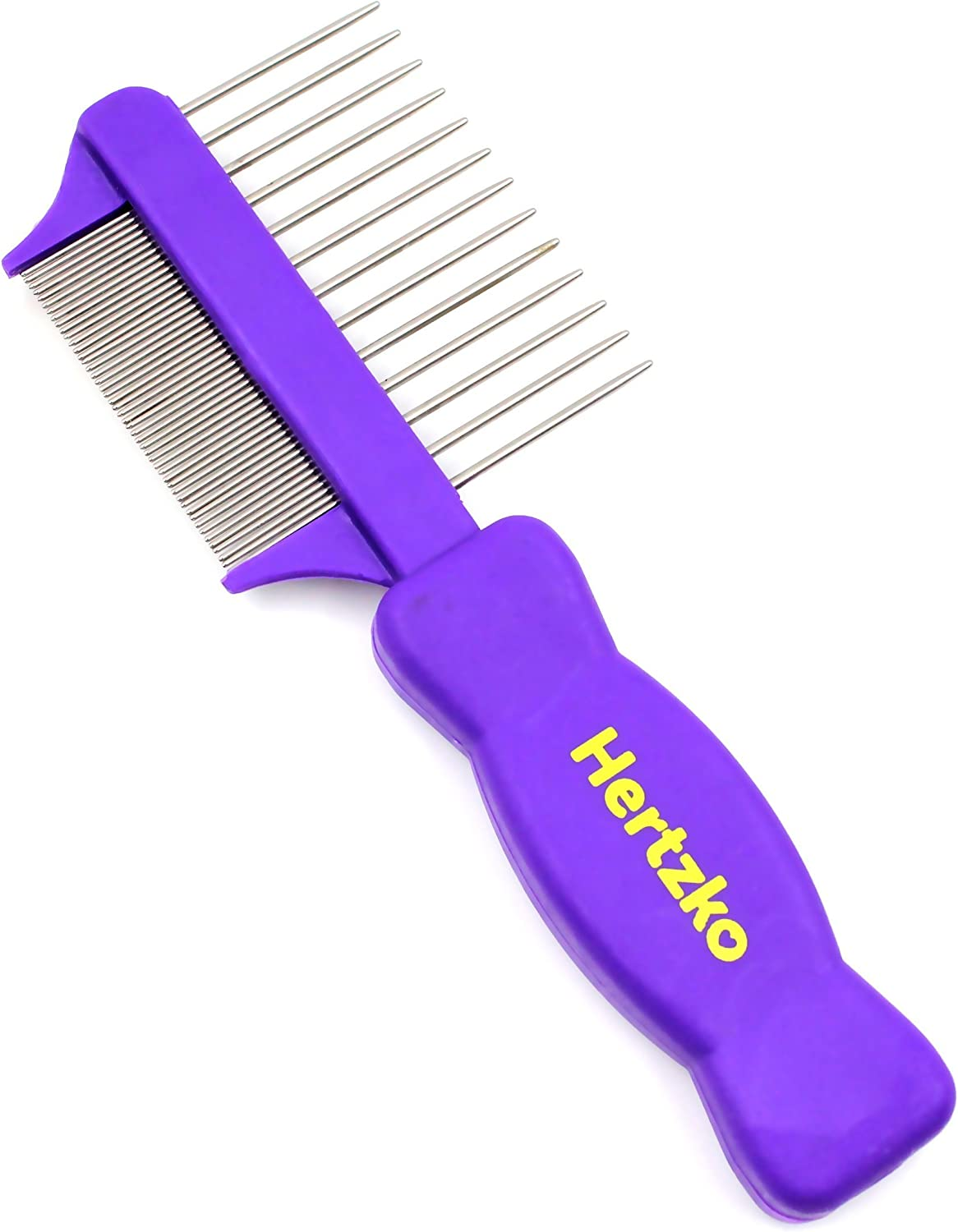 HERTZKO Double Sided Flea Comb Densely Packed Pins Removes Fleas, Flea Eggs, and Debris, and The Wider Spaced Pins Detangles and Loosens Dead Undercoat - Suitable for Dogs and Cats : Pet Supplies