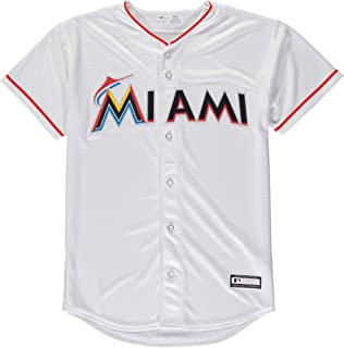 Outerstuff Miami Marlins Blank White Youth Cool Base Home Jersey