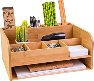 Bamboo Wood Desk Organizer with File Organizer for Office Supplies Storage & Desk Accessories. Perfect Office Decor combo ...
