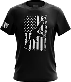Pro-Gun Second Amendment American Flag Don't Tread on Me Mens T-Shirt Made in USA