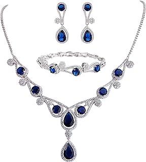 EVER FAITH Women's CZ Lots Hollow-Out Teardrop Necklace Earrings Bracelet Set Silver-Tone