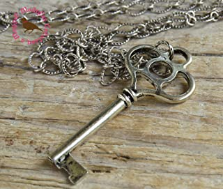 Long Boho Silver Skeleton Key Necklace on a 30 inch Chunky Antiqued Silver Chain