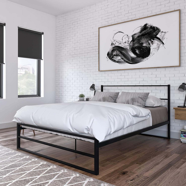 DG Casa 期間限定お試し価格 Allen Metal Platform Bed Queen in Frame Size Black 正規品