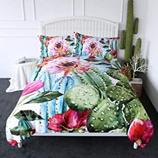 ARIGHTEX Cactus Duvet Cover Set Boho Style Succulent Flowers Bedding Green Plants Bed Comforter Cover Sets 3 Piece Exotic Natural Vintage Watercolor Pattern Bed Spreads (Queen)
