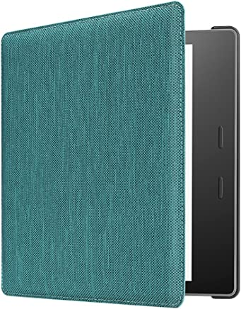 """CaseBot Fabric Case for Kindle Oasis (9th Gen, 2017 Release) - Slim Fit Cover with SF Coated Non Slip Matte Finish Back Case with Auto Wake/Sleep for Amazon All-New 7"""" Kindle Oasis, Denim Sea Green"""