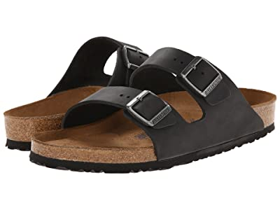 Birkenstock Arizona Soft Footbed Leather (Unisex) (Black Oiled Leather) Sandals
