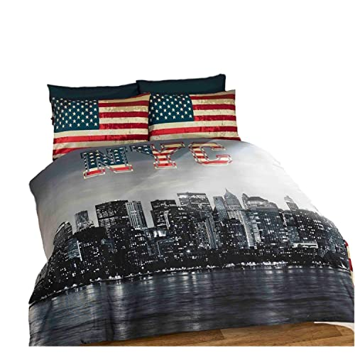 New York City NYC Skyline Bedding American Reversible Stripe Duvet Cover Set