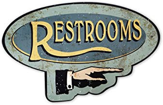 product image for Surf To Summit Handcrafted Vintage Restroom Right Pointing Hand Aluminum Sign Pointing Restroom Sign Bathroom Sign