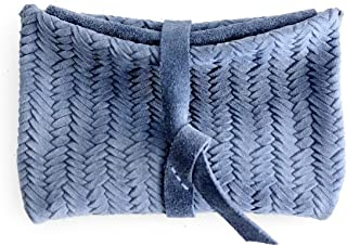 Porta monete, piccolo portafoglio in pelle scamosciata e stampata, azzurra. Camy COIN Purse