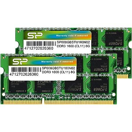 シリコンパワー ノートPC用メモリ DDR3 1600 PC3-12800 8GB×2枚 (16GB) 204Pin Mac 対応 SP016GBSTU160N22