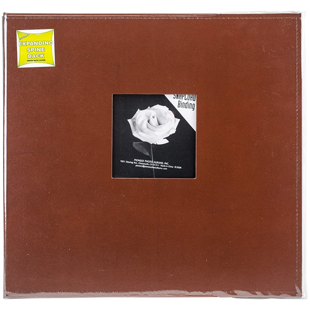 Pioneer 12 Inch by 12 Inch Snapload Sewn Leatherette Frame Cover Memory Book, Brown eifmudjpqlc51