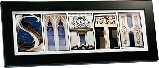 Creative Letter Art - Personalized Framed Name Sign with Black & White Architectural Stone Alphabet Photographs including Black Self Standing Frame