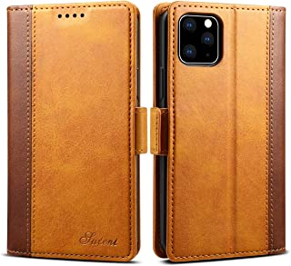 Wallet Case for iPhone 11 Pro 2019,Soft Pu Leather Slim Fit Card Money Holder Kickstand Phone Red Cover Shell Yellow