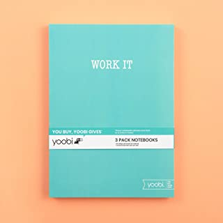 Yoobi   Notebook with Printed Cover   60 College Ruled Sheets   Mint Multicolor   Pack of 3 (YOOB4192675)