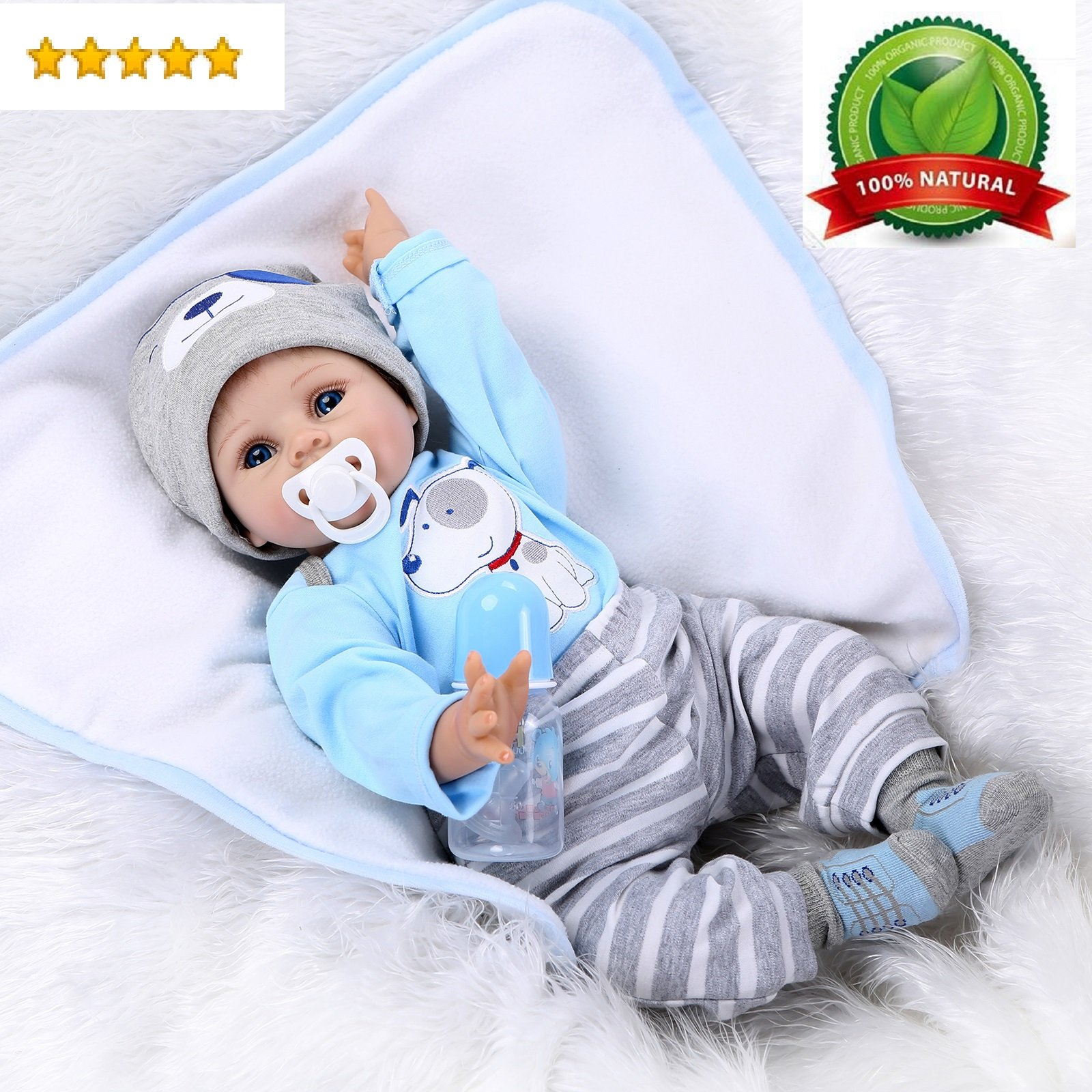 "22/""Lifelike Newborn Silicone Vinyl Full Body Reborn Boy Baby Dolls Birthday Toy"