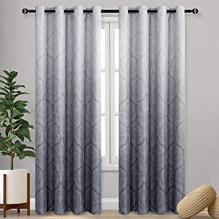 DWCN Ombre Blackout Curtains for Bedroom - Damask Patterned Thermal Insulated Energy Saving Grommet Curtains for Living Ro...