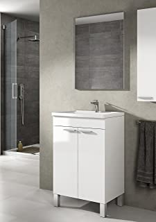 Mueble lavabo de baño-aseo pequeño con espejo incluido y