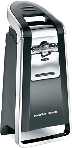 Hamilton Beach 76606ZA Smooth Touch Electric Automatic Can Opener With Easy Push Down Lever Opens All Standard Size And Pop Top Cans Black And Chrome
