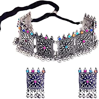 Total Fashion Women's Oxidized Silver and Choker Necklace with Earrings Set (Multicolor)