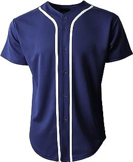 c87b8d8ff Mens Baseball Team Jersey Button Down T Shirts Plain Short Sleeve Top