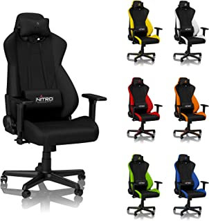 NITRO CONCEPTS S300 Gaming Chair - Stealth Black - Office Chair - Ergonomic - Cloth Cover - Up to 300 lbs Users - 90° to 135° Reclinable - Adjustable Height & Armrests