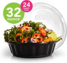 32oz Large Round Plastic Meal Prep Bowls | 24ct Bento Loco Bowls With Lids | Safer Than Glass | BPA, PVC, Toxin free | Meal prep containers for lunch salad or entrée