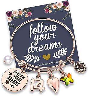 Birthday Gifts for Women Girls Bracelet, Stainless Steel Butterfly Birthday Charm Bracelets for Women Girls 10th 20th 30th...