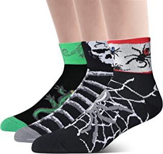 3 Pack Men's Cycling Socks Cool Ankle Bike Socks Crazy Spider Skeleton Lizard Animal Pattern Bicycle Socks