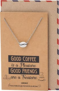 Quan Jewelry Cute Coffee Necklace, Handmade Gifts for Caffeine Coffee Lovers, Featuring Coffee Bean Pendant Charm, Comes with Quote Card, Gifts for Good Friends and Family