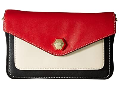 Frances Valentine Tess Color Block Clutch (Black/Oyster/Red) Clutch Handbags