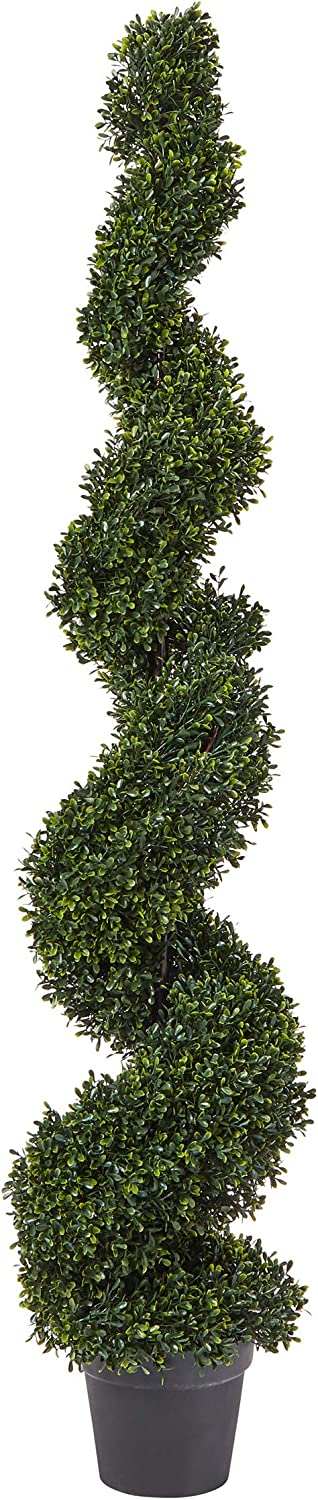Pure Garden Faux Boxwood– Realistic and Lifelike Plastic 5 Foot Spiral Topiary Arrangement and Weighted Pot for Indoor or Outdoor Home or Office