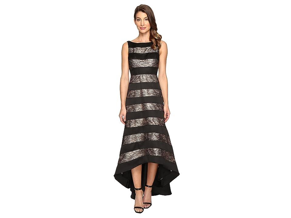 Adrianna Papell Striped Lace Mikado Hi-low Dress (Black) Women