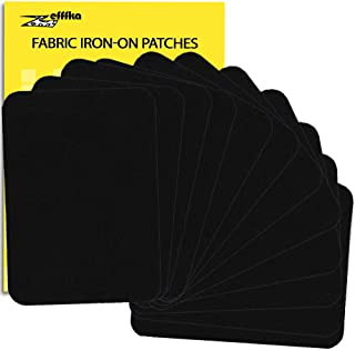 """ZEFFFKA Premium Quality Fabric Iron On Patches Deep Black 12 Pieces 100% Cotton Repair Kit 3"""" by 4-1/4"""""""