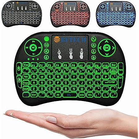 BFTECHトロントストアi8 +ミニワイヤレスタッチキーボードハンドヘルドリモコン、タッチパッドマウスコンボ、Android TVボックス、PS3 XBOX、ラズベリーパイ3、HTPC、Windows 7,8,10用の3色LEDバックライトリモートコントロール。