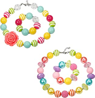 1-2 Pairs Cute Chunky Bubblegum Necklace and Bracelet Set for Girls