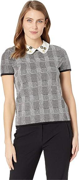 Short Sleeve Embellished Collar Sweater