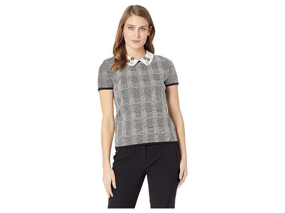 CeCe Short Sleeve Embellished Collar Sweater (Rich Black) Women