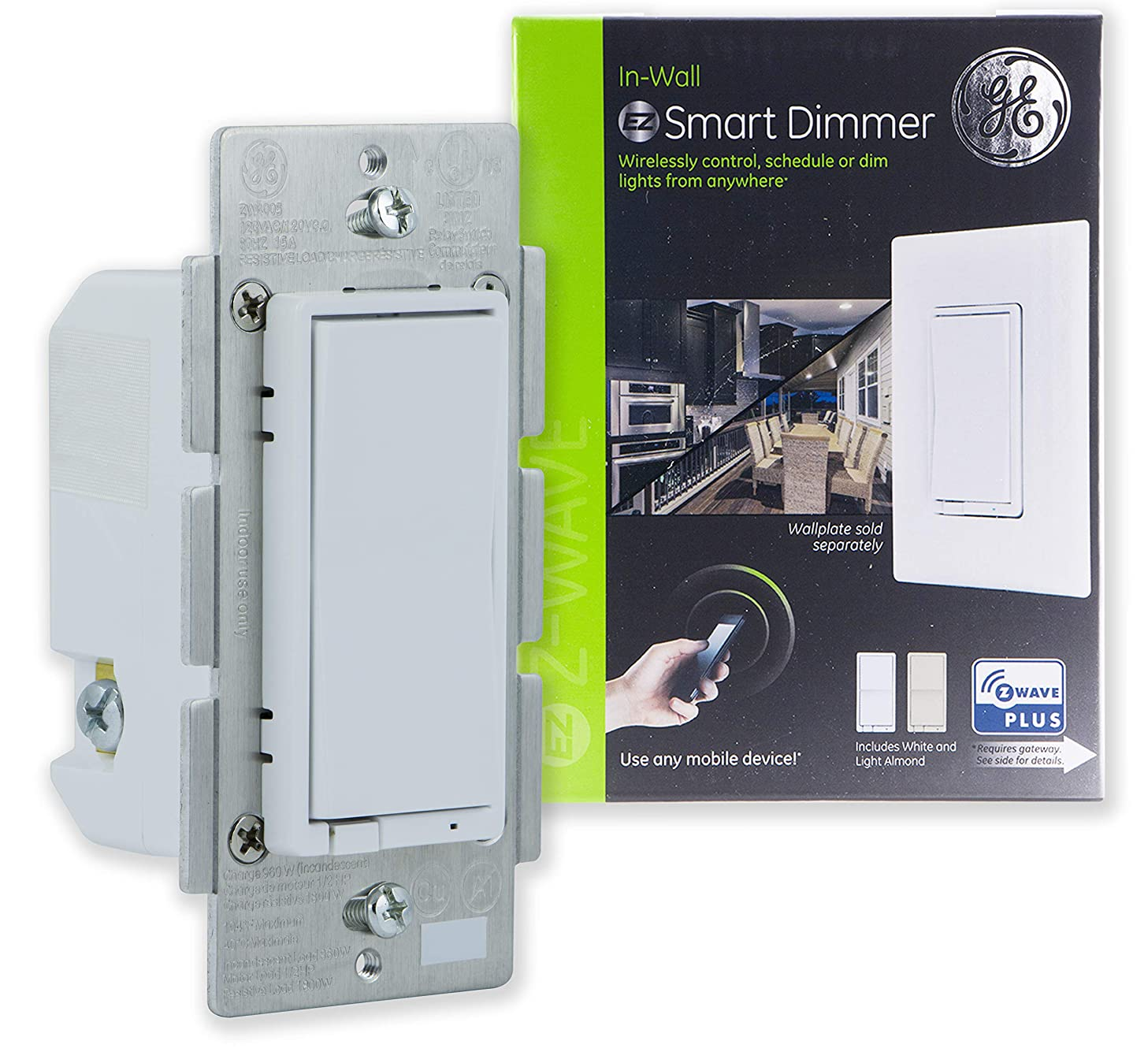 GE Enbrighten Z-Wave Plus Smart Dimmer Switch, Full Dimming, In-Wall, Incl. White and Lt. Almond Paddles, Repeater/Range Extender, Zwave Hub Required, Works with SmartThings, Wink, Alexa, 14294 mcxvddpuw