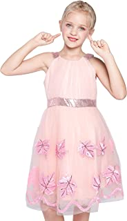 Sunny Fashion Robe Fille Turquoise Papillon Brodé Licou Habiller Partie 5-12 Ans
