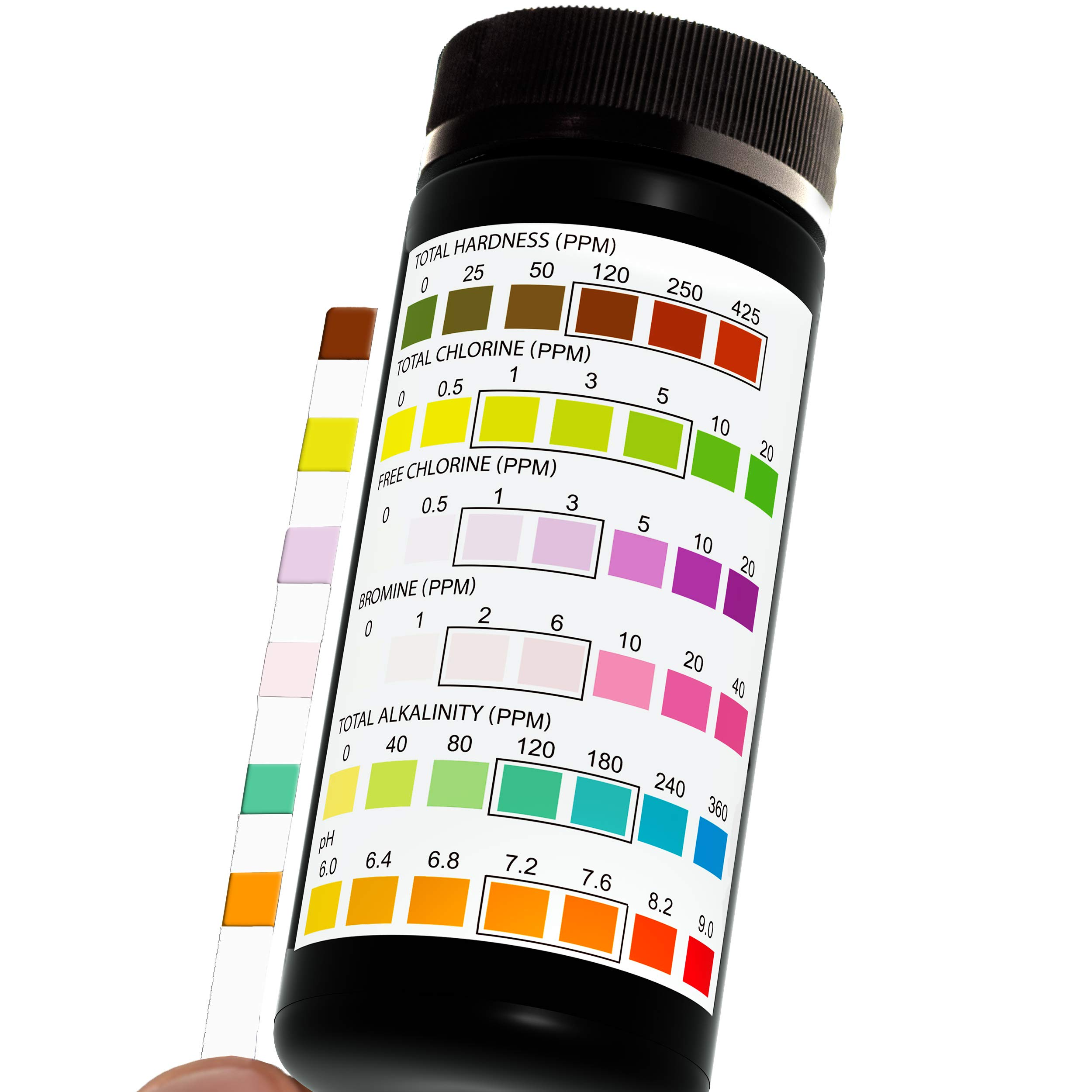JNW Direct Pool and Spa Test Strips - 100 Strip Pack, Test pH, Chlorine, Bromine, Hardness and More, Accurate 6-in-1 Swimming Pool Water Testing, Free App & Ebook Included