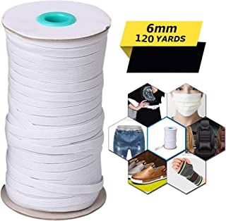 1/4 Inch Width White Elastic String Cord - 120 Yards Length Braided Elastic Band Heavy Stretch High Elasticity Knit Spool Elastic Rope for Sewing Crafts DIY Ear Band Loop