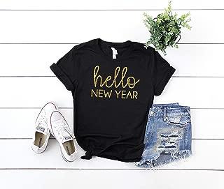 Hello New Year Shirt Womens New Years Eve Tshirt Celebrate 2020 Glitter Top Countdown Graphic Tee