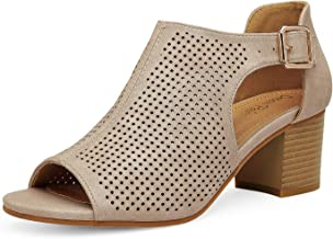 DREAM PAIRS Women's Cutout Peep Toe Stacked Low Heeled Sandals
