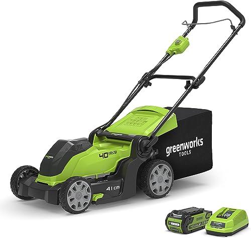 Greenworks Tondeuse à batterie G40LM41K2 (Li-Ion 40 V 41 cm largeur de coupe, jusqu'à 600m², 2en1 paillage & tonte, r...